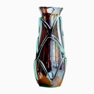 Vase Mid-Century Vert en Verre Pourpre avec Teinte Argentée