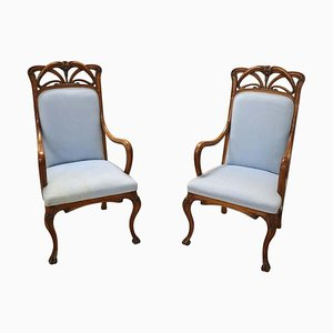 Art Nouveau Carved Walnut Armchairs, Set of 2