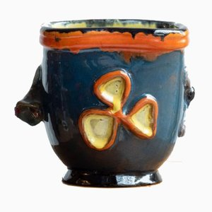 Blauer Mid-Century Porzellan Blumentopf im japanischen Stil, handbemalt