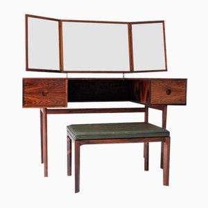 Danish Rosewood Model 40 Dressing Table & Leather Bench by Kai Kristiansen for Aksel Kjersgaard, 1958, Set of 2