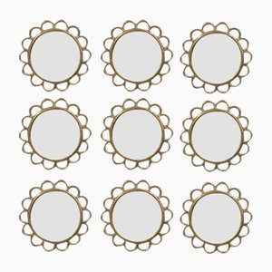 Brass Round Modular Wall Mirrors, 1950s, Set of 9