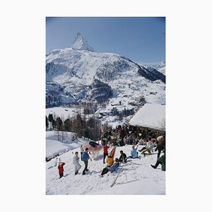 Zermatt Skiing Oversize C Print Framed in Black by Slim Aarons
