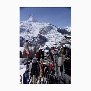 Zermatt Skiing Oversize C Print Framed in Black by Slim Aarons