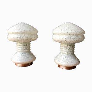 Lámparas de mesa Mid-Century en blanco y verde arena. Juego de 2
