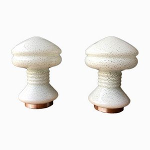 Weiße Mid-Century Tischlampen in Grisgrün, 2er Set