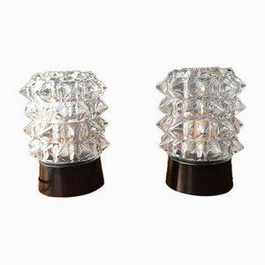 Lampes de Bureau Mid-Century en Verre Transparent, Set de 2