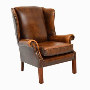 Georgian Style Leather Wing Back Armchair, 1960s
