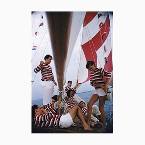 Adriatic Sailors Oversize C Print Framed in White by Slim Aarons