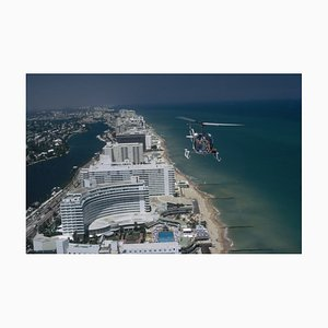Aerial Miami Beach Oversize C Print Framed in White by Slim Aarons