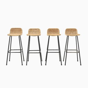 Mid-Century Rattan Bar Stools by Dirk van Sliedrecht, Set of 4