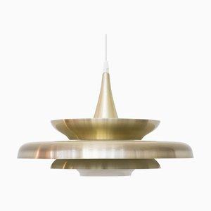 Glass & Golden Aluminum Ceiling Lamp from Vitrika, 1970s