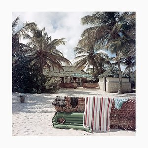 Antigua Beach Club Oversize C Print Framed in Black by Slim Aarons