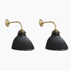 Black Glass Gilded Sconce, 1930s, Set of 2