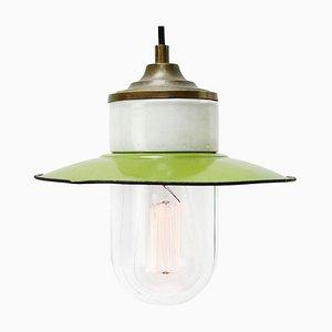 Lampe à Suspension Industrielle Vintage en Porcelaine Émaillée Verte en Laiton