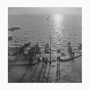Anzio Quayside Silver Fibre Gelatin Print Framed in Black by Slim Aarons