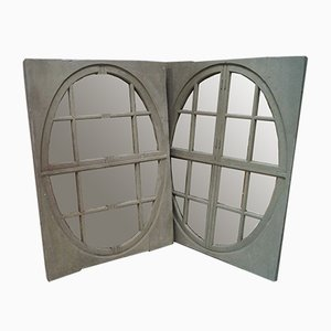 Antique Painted French Oak Window Mirrors, Set of 2