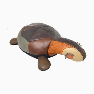 Large Leather Decorative Turtle Pillow, 1960s