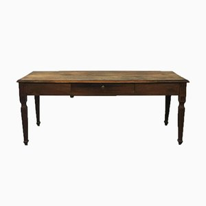 Italian Walnut Desk With Drawers & Rectangular Top, 1900s