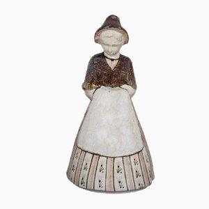 Ceramica da terra modello Girl 205/5 JC in terracotta di Gudrun Meedom per Bing & Grondahl, anni '60