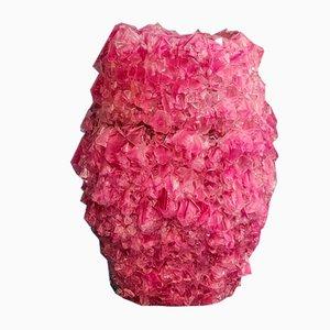 Große Kristallvase in Pink von Isaac Monté