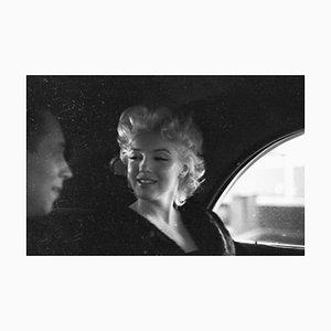 Marilyn New York Taxi Cab Listening Silver Gelatin Resin Print Framed in White by Ed Feingersh