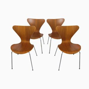 Vintage Teak Chairs by Arne Jacobsen for Fritz Hansen, 1960s, Set of 4