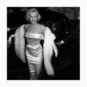 Monroe at Premiere 1954 Silver Gelatin Resin Print Framed in White by Murray Garrett