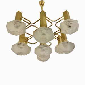 Gilt Gold Glass Chandelier by Gaetano Sciolari, 1970s