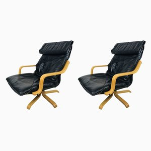 Mid-Century Swedish Leather Swivel Chairs, 1970s, Set of 2
