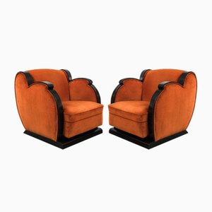 Modernist Velvet Club Chairs, 1939, Set of 2