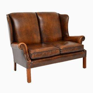 Georgian Style Leather Wingback Sofa, 1960s