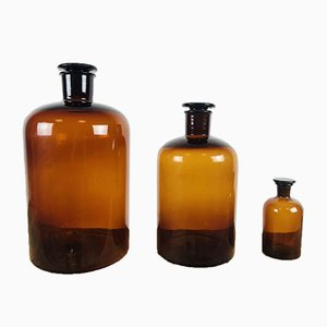 Vintage Glass Cork Pharmaceutical Bottles 1920s, Set of 3