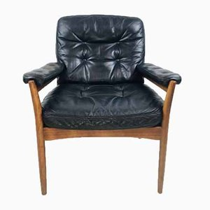 Vintage Swedish Black Leather Easy Chair from Göte Möbler, 1970s