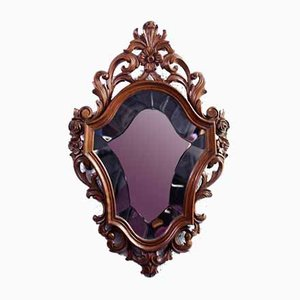 Carved Wooden Beveled Mirror, 1960s
