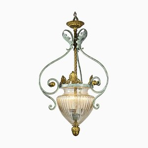 Antique Wrought Iron and Blown Glass Ceiling Lamp