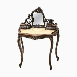 Antique Carved Walnut Dressing Table, 1880s