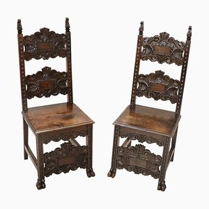 Antique Carved Walnut Chairs, Set of 2