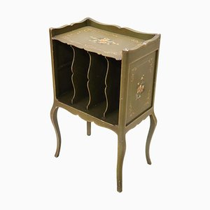 Vintage Lacquered and Painted Wood Side Table with Magazine Rack, 1930s