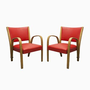 Bow Wood Lounge Chairs from Steiner, 1950s, Set of 2