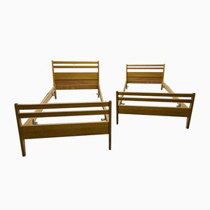 Scandinavian Beech Twin Beds, 1960s, Set of 2