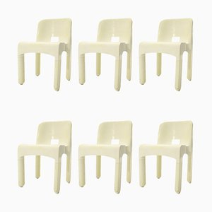 4860 White Plastic Dining Chairs by Joe Colombo for Kartell, 1960s, Set of 6