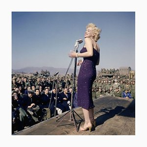 Marilyn Monroe Sings to Us Marines Framed in Black by Bettmann