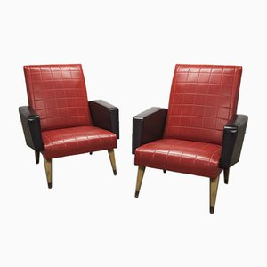 Compass Feet Lounge Chairs, 1970s, Set of 2