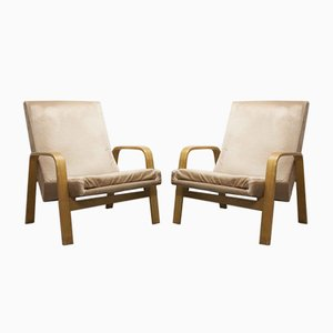 Bow Wood Lounge Chairs by A.R.P. for Steiner, 1950s, Set of 2