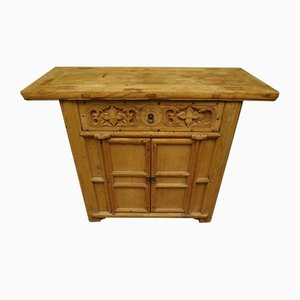 Antique Chinese Bleached Elm Altar Cabinet