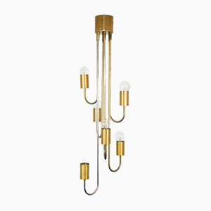 Brass and Brass 6-Light Chandelier Lantern from Lamtern Milano, 1970s