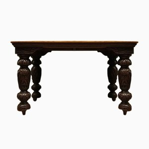 Victorian Gothic Oak & Mahogany Dining Table With Heavily Carved Legs