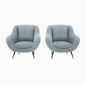 Armchairs in Light Blue Velvet, 1950s, Set of 2