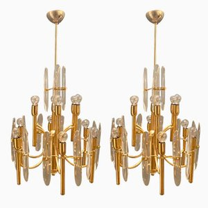Deckenlampen aus Messing & Kristallglas von Gaetano Sciolari, 1970er, 2er Set