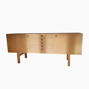 Low Oak Veneered Sideboard In the Style of Borge Mogensen, 1960s